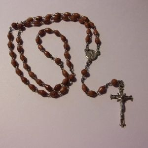 Jewelry - Brown Bead Sterling Silver Rosary Prayer Beads
